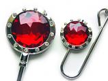 Handbag Hook & Key set - Ruby